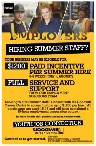 Youth Job Connection Hiring Incentive Poster